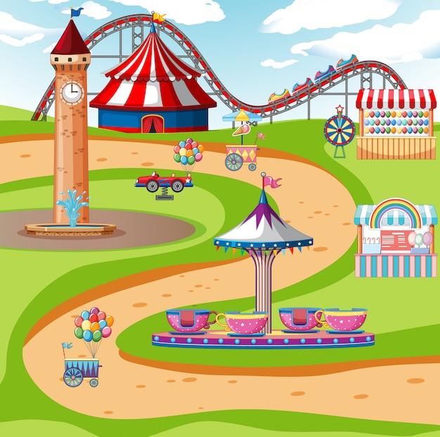 Uma cena de parque de diversões ao ar livre ou plano de fundo
