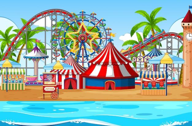 Uma cena de parque de diversões ao ar livre