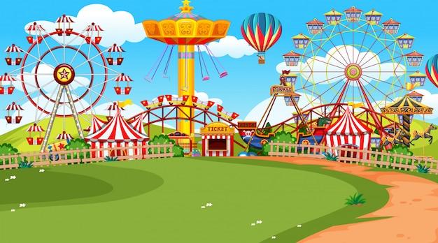 Uma cena de parque de diversões
