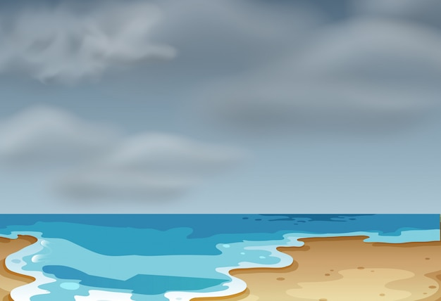 Uma cena de praia nublada