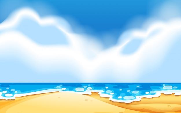 Uma cena de praia vazia