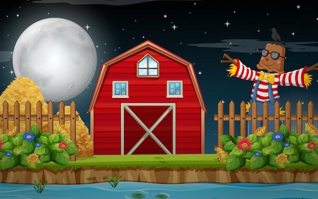 Uma cena de terras agrícolas à noite