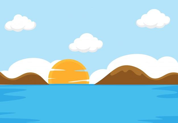 Uma cena do mar plana