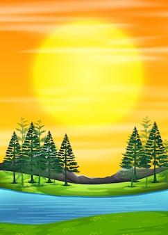 Uma cena do nascer do sol da natureza