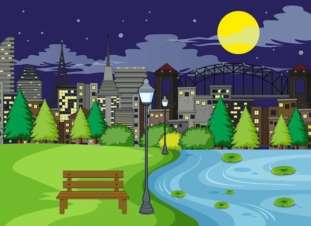 Uma cena do parque à noite