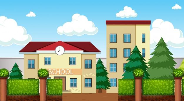 Uma cena do prédio da escola