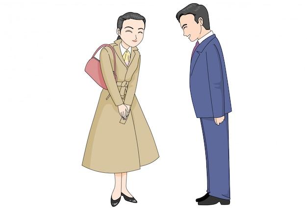Uma cena em que um homem e uma funcionária se cumprimentam com um sorriso gentil