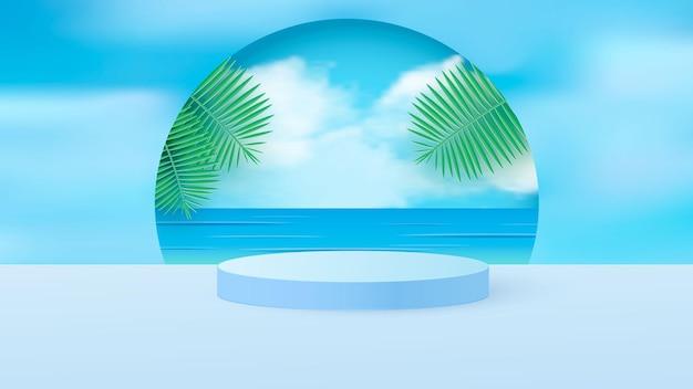 Uma cena minimalista com um pódio cilíndrico azul claro com folhas tropicais contra o céu.