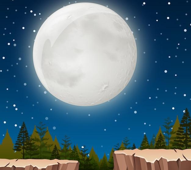 Uma cena noturna da lua