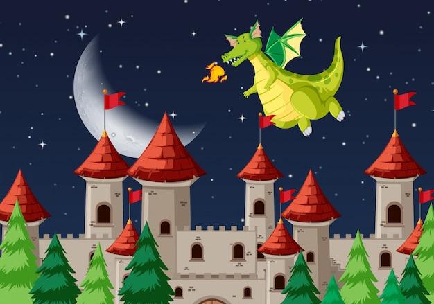 Uma cena noturna medieval