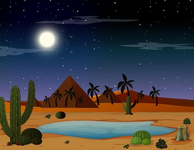 Uma cena noturna no deserto