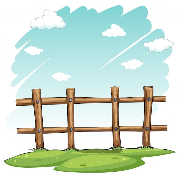 Uma cerca de madeira