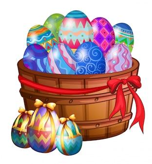 Uma cesta cheia de ovos de páscoa