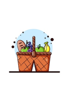 Uma cesta de frutas e pão para ilustração de piquenique