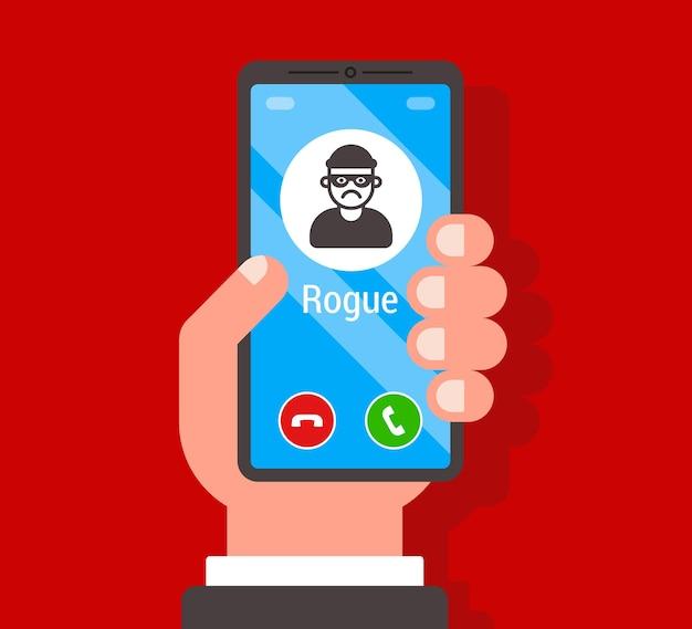 Uma chamada fraudulenta em um smartphone. trapaceando no telefone. ilustração vetorial plana