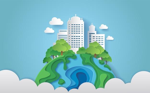 Uma cidade cercada por árvores na terra com nuvens. estilo de arte de papel.