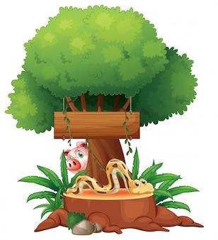 Uma cobra com uma tabuleta de madeira e um porco na parte de trás