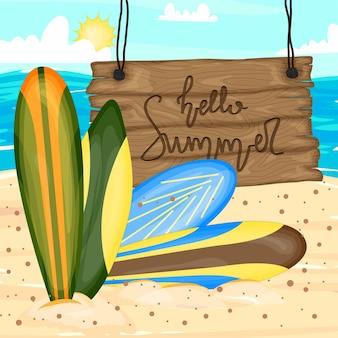 Uma coleção com pranchas de surf. estilo de desenho animado. ilustração vetorial.
