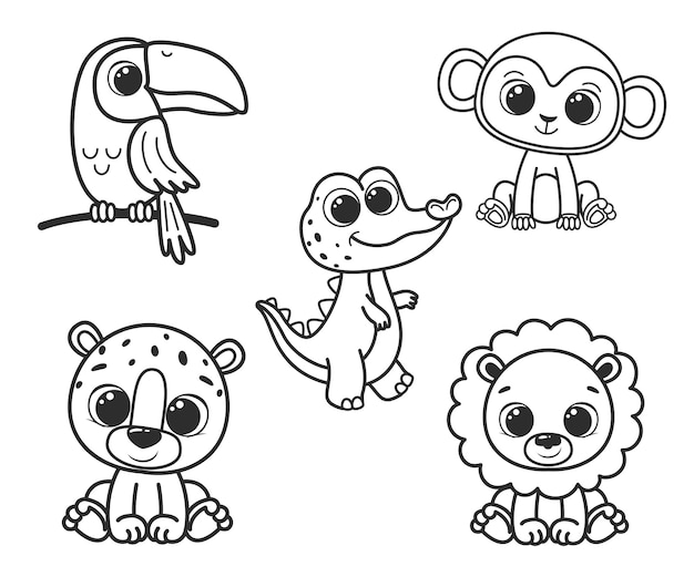 Uma coleção de animais bonitos dos desenhos animados. ilustração em vetor preto e branco para um livro de colorir. desenho de contorno.