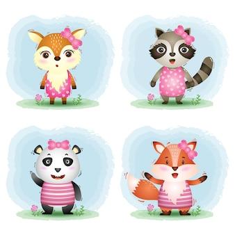 Uma coleção de animais fofos: veado, guaxinim, panda e raposa