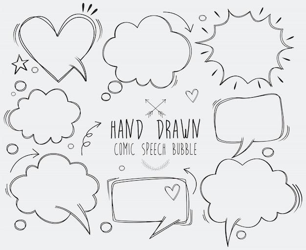 Uma coleção de balões de fala em quadrinhos. bolhas do discurso em quadrinhos doodle conjunto