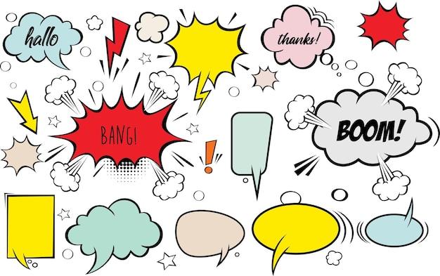 Uma coleção de balões de fala em quadrinhos conjunto de balões de fala em quadrinhos