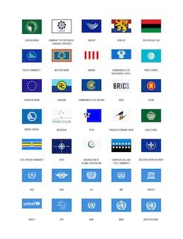 Uma coleção de bandeiras de organizações de vetores