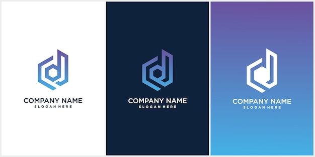 Uma coleção de designs criativos de ícones de logotipo hexágono d minimalistas em formato vetorial com a letra d em gradações luxuosas