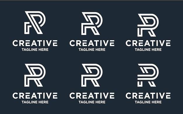 Uma coleção de designs criativos de logotipo com a letra r