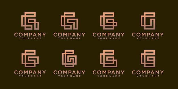 Uma coleção de designs de logotipo da letra g na cor dourada abstrata.