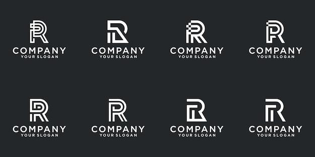 Uma coleção de designs de logotipo da letra r na cor branca abstrata. apartamento minimalista moderno para negócios