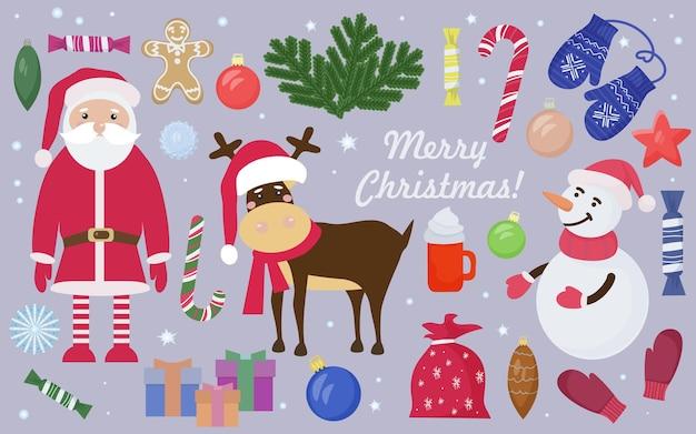 Uma coleção de elementos de natal e ano novo com papai noel e veados