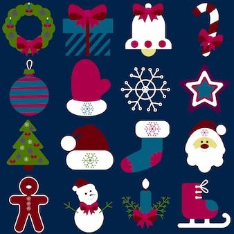 Uma coleção de elementos têxteis retrô do ano novo em um fundo azul