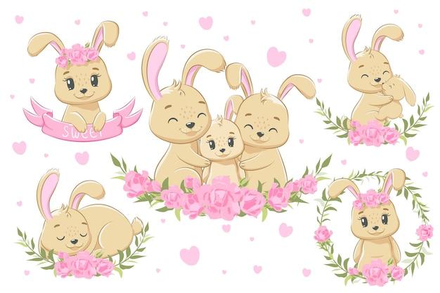 Uma coleção de família de coelhinhos fofos para meninas. ilustração em vetor de um desenho animado.