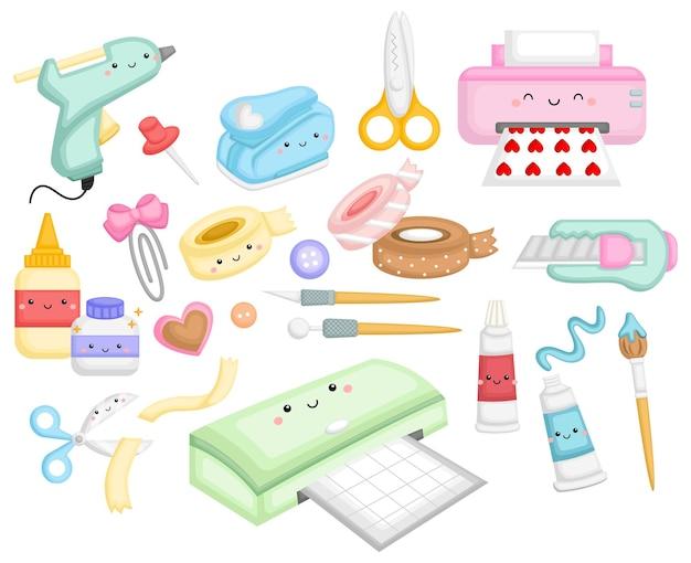 Uma coleção de ferramentas e suprimentos de artesanato