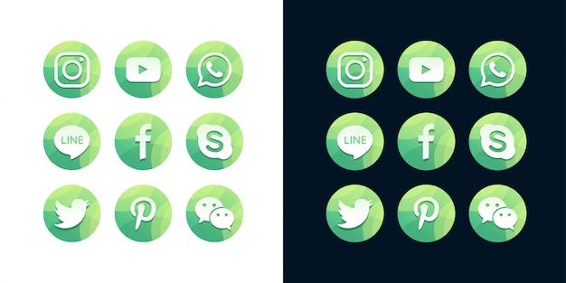 Uma coleção de ícones populares de mídia social em fundo branco e escuro
