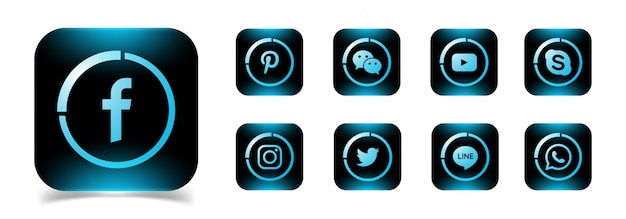 Uma coleção de ícones populares de mídia social