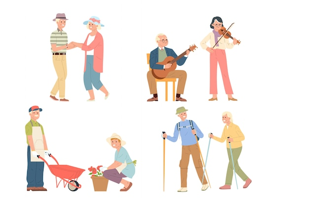 Uma coleção de ilustração vetorial de atividades divertidas de idosos