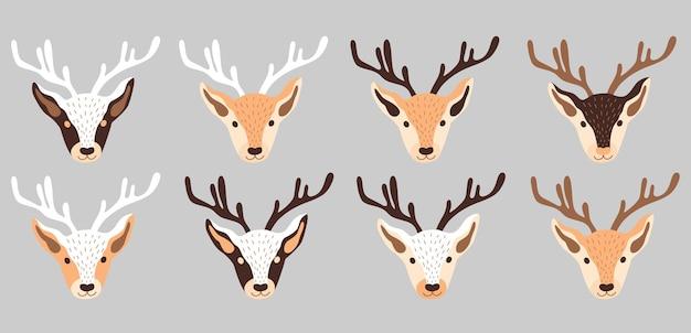 Uma coleção de ilustração vetorial de renas de natal com cabeças de veado