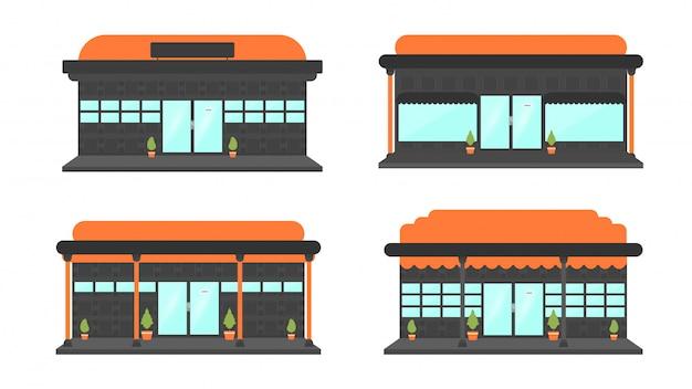 Uma coleção de ilustrações de construção de lojas