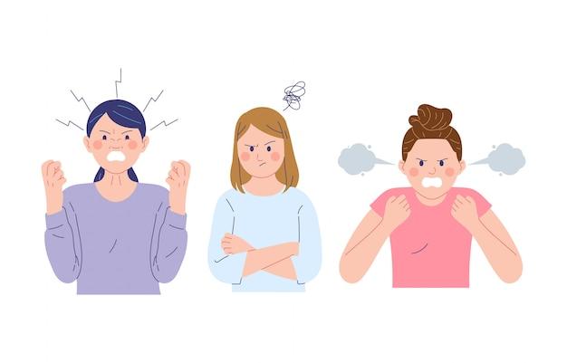 Uma coleção de ilustrações vetoriais femininas que expressam rostos de raiva, raiva e tristeza