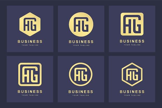Uma coleção de iniciais do logotipo da letra ag ag ouro com várias versões