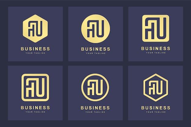 Uma coleção de iniciais do logotipo da letra au au gold com várias versões