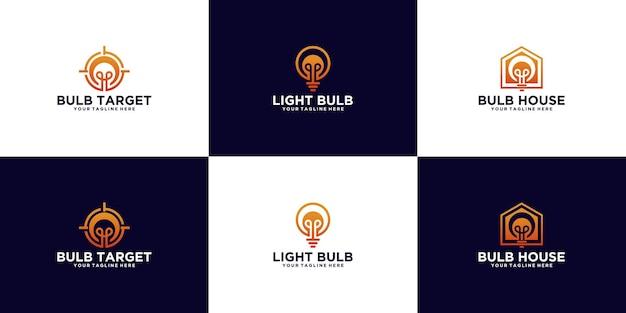 Uma coleção de logotipos criativos de lâmpadas