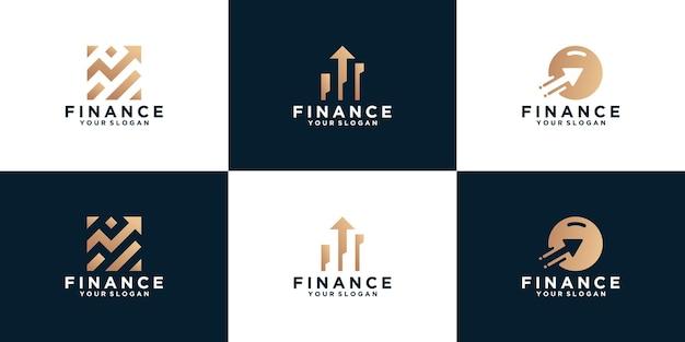 Uma coleção de logotipos financeiros, designs de flechas para empresas, consultoria, finanças
