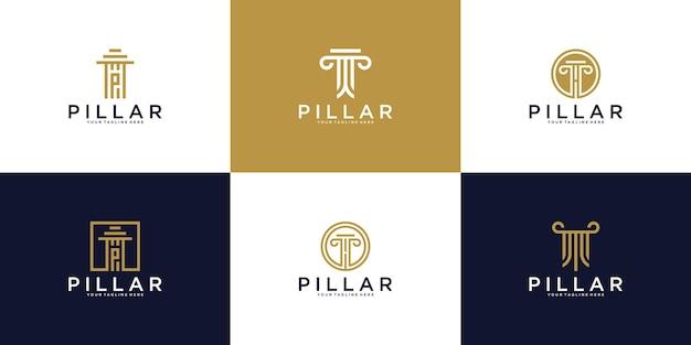 Uma coleção de logotipos, os pilares do edifício da justiça legal