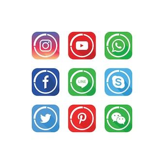 Uma coleção de modelo de ícones de mídia social popular