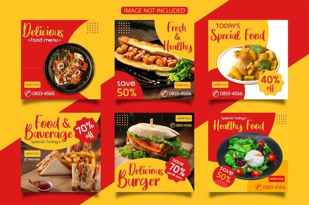 Uma coleção de modelos de postagens no instagram sobre comida realmente deliciosa. Vetor Premium