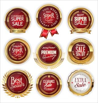 Uma coleção de ouro de vários emblemas e etiquetas