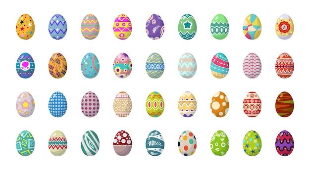 Uma coleção de ovos de páscoa com diferentes padrões e ornamentos